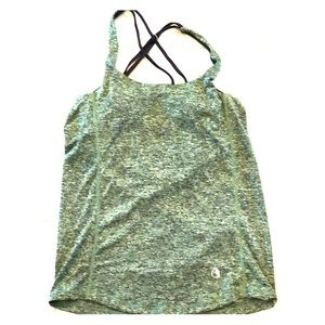 Tops - Green top with cowl back and built in sports bra